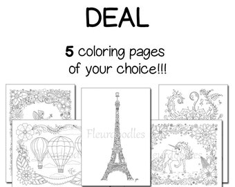Pack Of 5 Coloring Pages