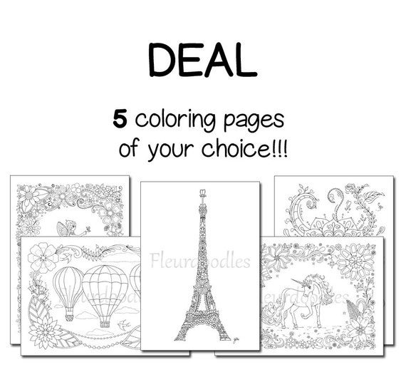 Pack Of 5 Coloring Pages Adult Book Anti Stress