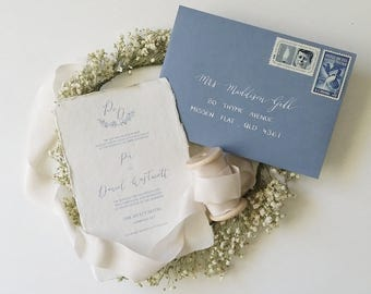 Indie Handmade Wedding or Engagement Invitation with Floral Detail and monogram