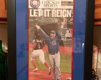 Chicago Cubs World Series Newspaper Framed Art