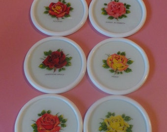 6 Vintage / Retro COASTERS Decorated With Different Roses