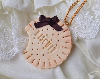 Cookie Necklace, Kawaii Necklace, Sweets Necklace, fake sweets jewelry- brown ribbon bow