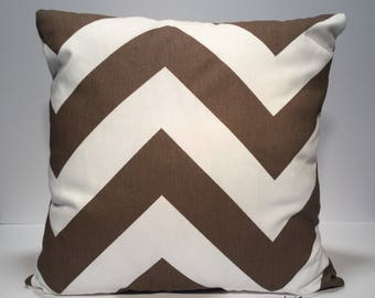 "Chevron Throw Pillow Cover, Chevron Pillow Cover, Brown White, Decorative Pillow Cover, Zipper Pillow Cover, 18"" Pillow Cover"