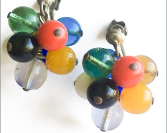 60's Multi Colour Bead Earrings