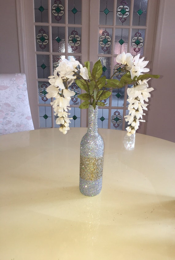 Full silver iridescent gold glitter wine bottle