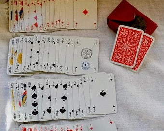 Playing Cards, Mini Deck, Vintage Cards, Printed Card, French Playing Cards, 1950s