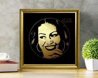 Michelle Obama in Gold - Michelle Obama - Michelle Obama Poster - Michelle Obama Print - Michelle Obama art - Black and Gold Print