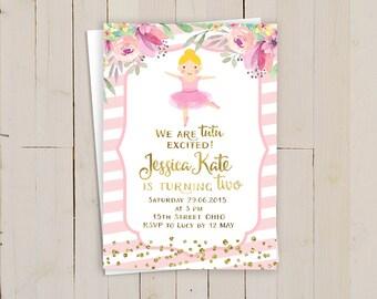 Tutu birthday invitation, Pink tutu birthday invitation, pink ballerina birthday invite, Ballerina Ballet 1st First Birthday, Pink gold tutu