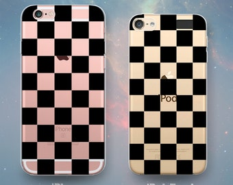 Checkerboard Pattern Black Checker Check Squares Clear Rubber Case for iPhone 7 Plus 7 iPhone 6s 6 Plus iPhone SE iPhone 5s 5 5c iPod Touch