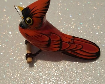 Vintage Takahashi Style Hand Painted Wood Pin Brooch Cardinal