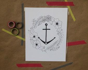 Floral Anchor Print