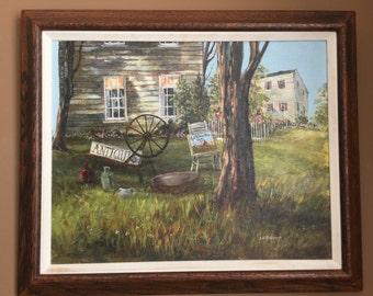 Original Oil Painting by Sally Millspaugh Antique Shop Framed Vintage
