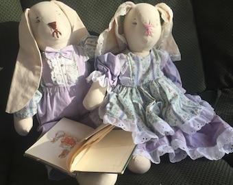 Peter Rabbit dolls, vintage book, Bunny doll, handmade dolls, boy and girl doll set, Tale of Peter Rabbit, Beatrix Potter, vintage book
