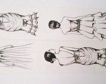 Design Washi tape girl black and white dresses