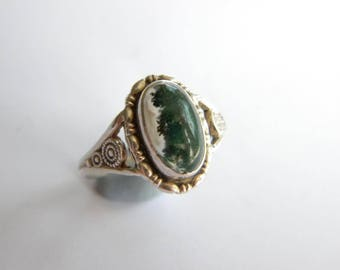 Thomas L Mott Vintage sterling silver ring 925 moss agate ~  inA2767
