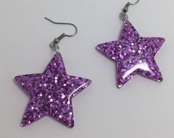 Purple oversized Star holo Glitter Charms Acrylic Earrings D204 Kitsch Fun 5.5cm Long