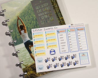 Mini Fitness Sticker Sheet for the mini sized Mambi Fitness Planner