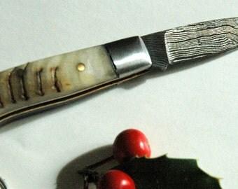 outdoor Keychain knife Damascus and Mouflon