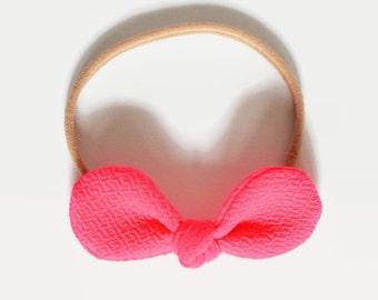 Pink Nylon Bow, Pink Nylon Headbands, Baby Shower Gifts, Gift for Her, Newborn Headband, Baby Gift, Baby Hair Bow, Infant Headband, Baby Bow