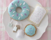Blue Tea Party Set with Donut, Pastry, Cookie, and Tea Bags