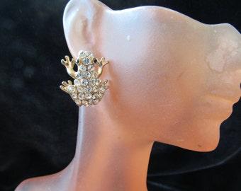 Vintage Pair Of Clear & Black Rhinestone Frog Pierced Earrings