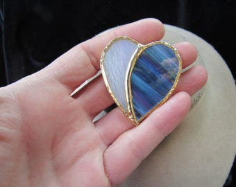 Vintage Iridescent & Multi Colored Stained Glass Heart Pin