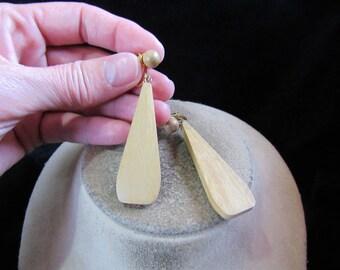 Vintage Pair Of Long Wooden Clip Dangle Earrings