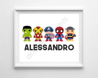 Super Heroes Art Print, Personalized Name Printable Digital, Avengers Hulk Iron Man Spider Man, Art Decor, Hero Nursery Wall Art, Boy Room