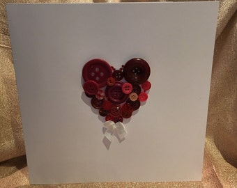 Large handmade button heart Love Card perfect for an anniversary, Valentine's Day or just because!