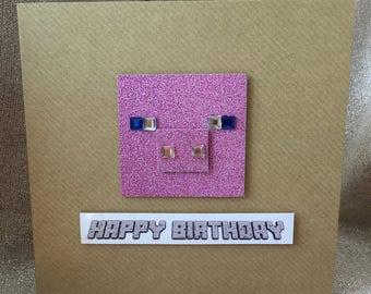 Minecraft Pig inspired Handmade Birthday Card