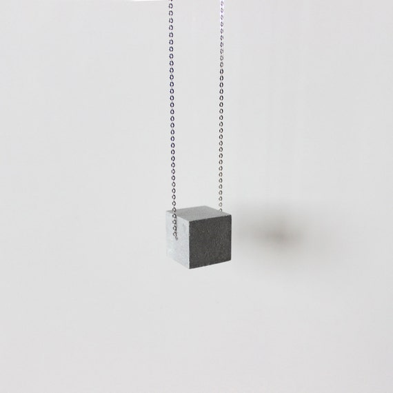 Concrete jewelry cube long concrete necklace architectural for Reinforcements stainless steel jewelry