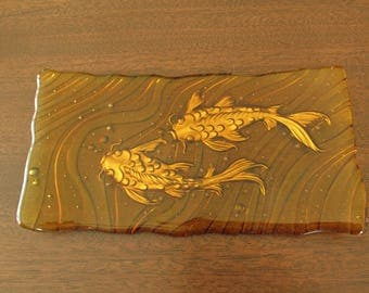 Amber Fused Glass Sushi Plate with Gold Painted Embossed Koi