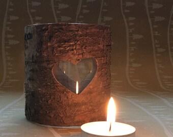 Rustic Heart  Bark Candle Lantern