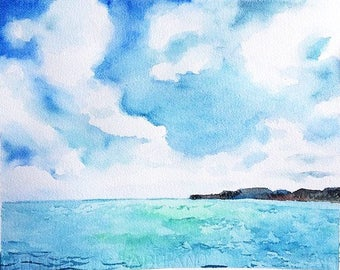 Original Seascape Watercolor Painting , Hand made Iteam , Landscape , Sky , clouds , island ,Water