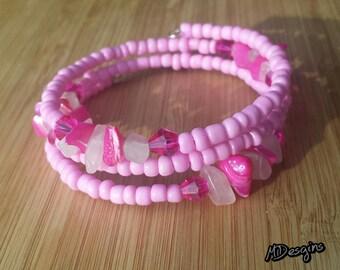 Pink Glass and Stone Wrap Bracelet