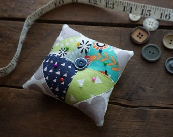 Fabric Quilted Pincushion in Navy, Grey, Aqua, Lime vintage look prints with Vintage Button Trim, Sewing Gift, Seamstress Gift