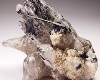 Beautiful Smoky Quartz with Black Tourmaline Crystal Cluster, Erongo Namibia
