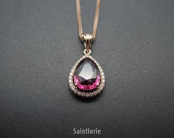 2.8 Carat Rhodolite Garnet Necklace
