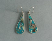Abalone and Turquoise Enamel Earrings