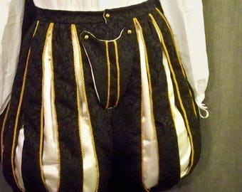 "Paned Slops In-Stock Trunkhose Luxury Elizabethan SCA Renaissance ECW Brocade Trim 38"" Waist"