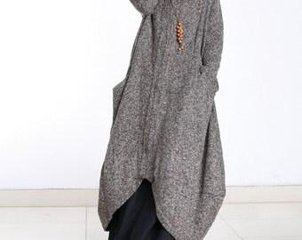 Loose wool jacket long sleeve wool coat long cloak long wool dress plus size winter coat jacket plus size clothing