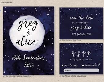Moon and Stars Invitation Set
