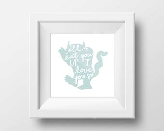 Children's Book Quotes Nursery Print Set, Where the Wild Things Are, The Little Engine that Could, Horton Hears a Who DIGITAL DOWNLOAD
