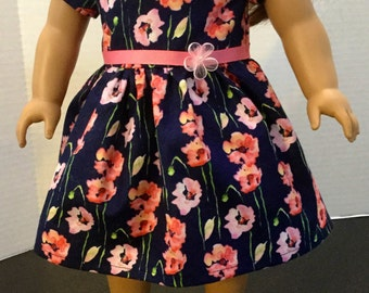 Floral dress for 18 inch dolls, 18 inch doll dress, fits 18 inch dolls like American girl dolls, 18 inch doll clothes, doll outfits