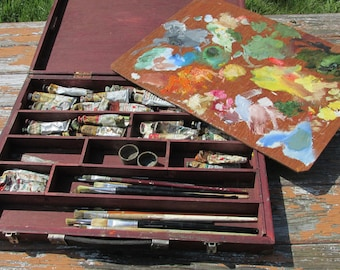 Vintage Wooden Artists Travel Paint Box/ Case with Palette, Oil Paints and Brushes/Accessories