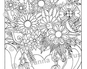 Tea Pot Floral Arrangement Coloring Page PDF