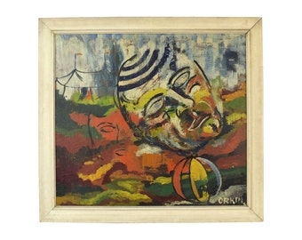 Mid-Century Oil Painting Abstract Head in front of Big Top Circus Tent sgnd Orkin