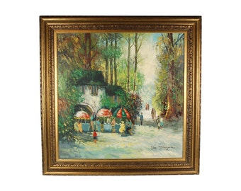 Mid-century Impressionist Oil Painting Charming Outdoor Cafe by Von Thongen