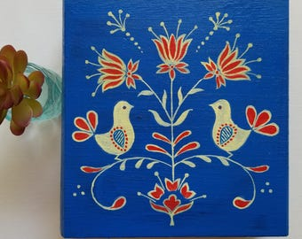 Floral themed Folk Art Design Hand painted Keepsake/jewelry box