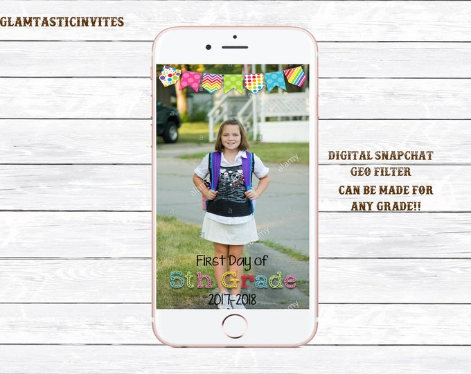 Snapchat Filter, First Day of School Snapchat, Digital Photo Filter, School Snapchat Filter, Photo Filter, Snapchat, Back to School, School